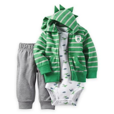 carter's® Size 3M 3-Piece Dinosaur Cardigan, Bodysuit, and Pant Set in Green