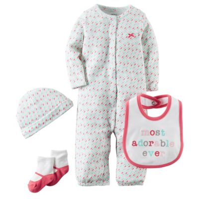 "carter's® Preemie Babysoft ""Most Adorable Ever"" Take Me Home Set in Pink/White"