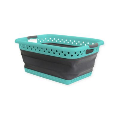 Collapsible Space Saving Laundry Basket in Aqua