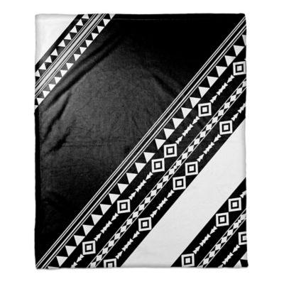 Tribal Printed Color Block Throw Blanket in Black/White