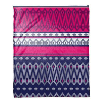 Tribal Boho Throw Blanket in Pink/Purple