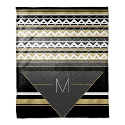 Geo Chic Throw Blanket in Black/White/Gold