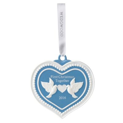 "Wedgwood 2016 Christmas Collection 3.3-Inch Porcelain ""First Christmas Together"" Ornament in Blue"