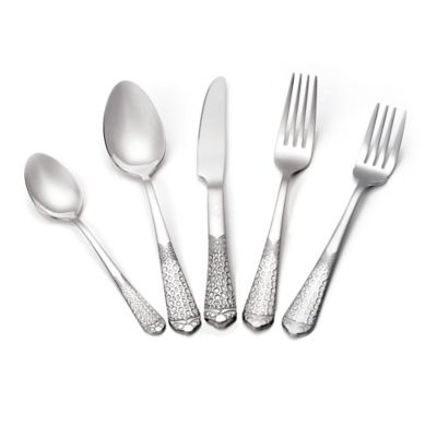 Lorren Home Trends Hammer 20-Piece Stainless and Gold Flatware Set