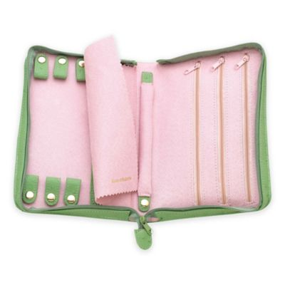 Reed & Barton Naples Zippered Jewelry Case in Green/Pink