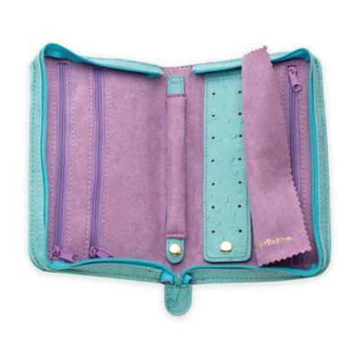 Reed & Barton Pisa Small Zippered Jewelry Case in Turquoise/Lavender