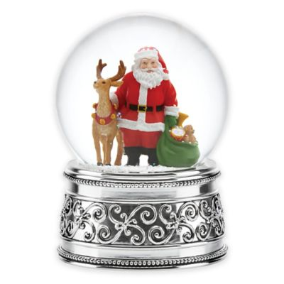 Reed & Barton Santa and Reindeer Snowglobe
