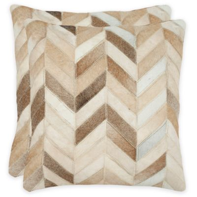 Safavieh Marley 18-Inch Square Throw Pillows in Tan (Set of 2)