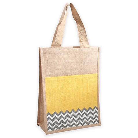 Thro by marlo lorenz half chevton jute commuter tote bag in yellow