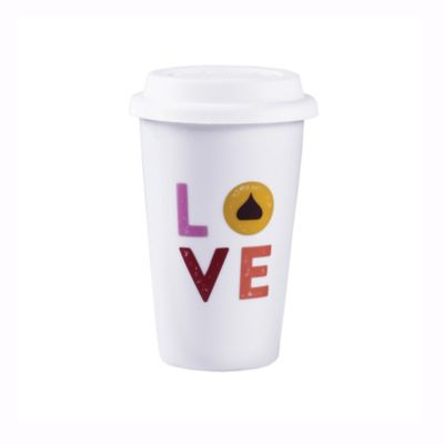 """Hershey's by Fitz and Floyd® Remember Your First """"Love"""" Kiss Travel Mug in White"""
