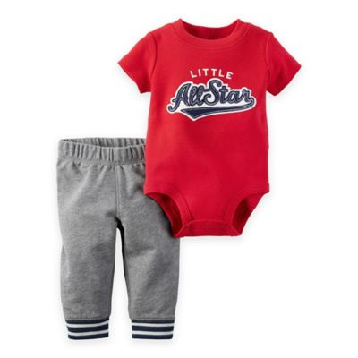 """carter's® Size 9M 2-Piece """"Little All-Star"""" Bodysuit and Pant Set in Red/Grey"""