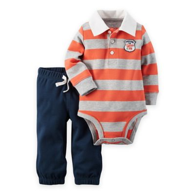 carter's® Newborn 2-Piece Striped Polo Bodysuit and Pant Set in Red/Grey