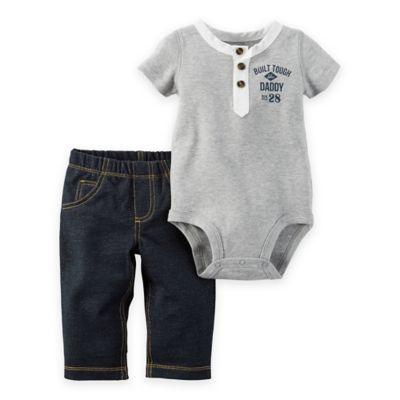 "carter's® Newborn 2-Piece ""Built Tough"" Henley Bodysuit and Pant Set in Grey/Blue"