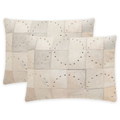 Safavieh Phoebe Throw Pillow in White with Silver Studs (Set of 2)