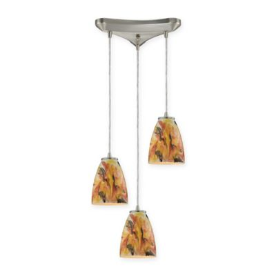 ELK Lighting Abstractions 3-Light Pendant Cluster in Satin Nickel with Solar Flare Glass Shades