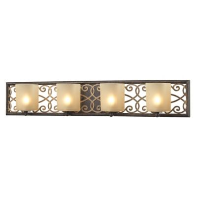 Elk Lighting Santa Monica Vanity 4-Light Fixture in Bronze with Frosted Amber Glass Shades