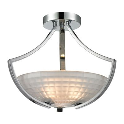 Elk Lighting Sculptive 3-Light Semi-Flush Fixture in Chrome with Frosted Glass Shade