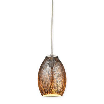 Elk Lighting Venture Ceiling Mount Pendant in Satin Nickel with Brown Glass Shade