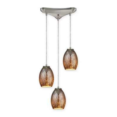 Elk Lighting Venture 3-Light Ceiling Mount Staggered Pendant in Satin Nickel with Brown Glass Shades