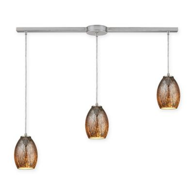 Elk Lighting Venture 3-Light Ceiling Mount Pendant in Satin Nickel with Brown Glass Shades