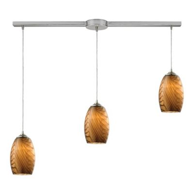 Elk Lighting Tidewaters 3-Light Ceiling Mount Pendant in Satin Nickel with Yellow Shades