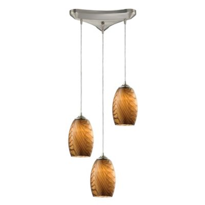 Elk Lighting Tidewaters 3-Light Ceiling Mount Staggered Pendant in Satin Nickel with Yellow Shades