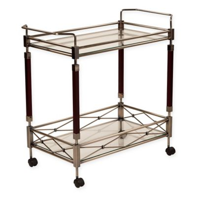 Office Star® Products Melrose Serving Cart in Brushed Nickel/Walnut
