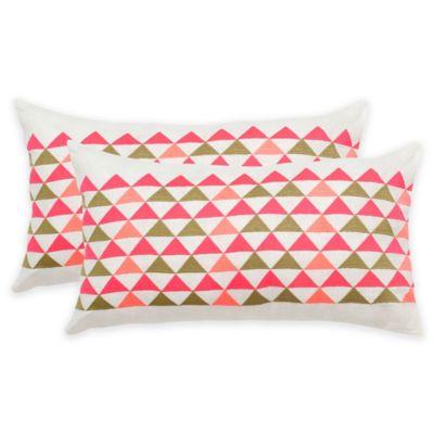 Safavieh Geo Mountain Oblong Throw Pillows in White/Pink (Set of 2)