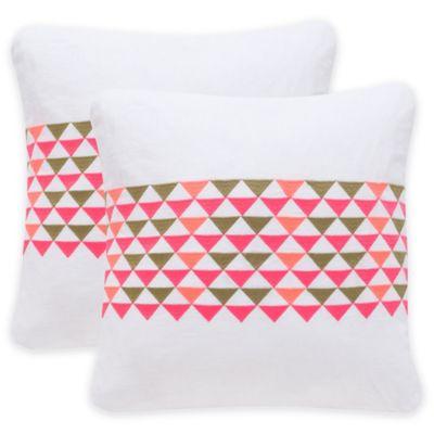 Safavieh Geo Mountain Square Throw Pillows in White/Pink (Set of 2)