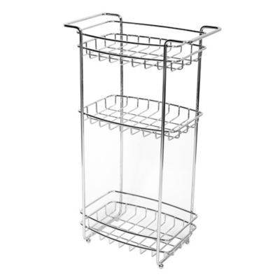 Slimline 3-Shelf Storage Floor Stand in Chrome