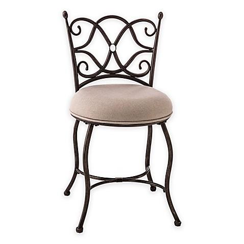 Hillsdale trevilian steel vanity stool bed bath beyond - Bathroom vanity chair with casters ...