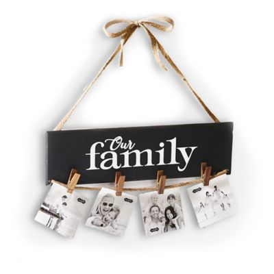 """Mud Pie """"Our Family"""" Clothespin Hanging Photo Holder"""
