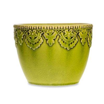 Home Essentials & Beyond Ceramic Indoor/Outdoor Lace Planter in Aqua