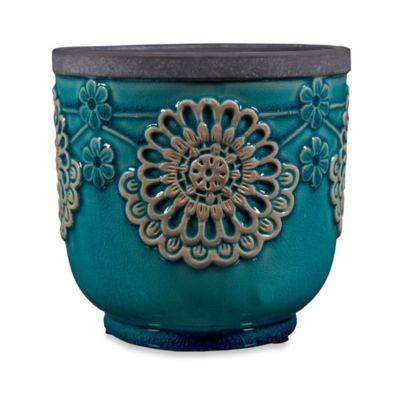 Home Essentials & Beyond Ceramic Indoor/Outdoor Lace Planter in Blue