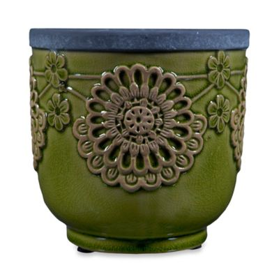 Home Essentials & Beyond Lace Ceramic Indoor/Outdoor Planter in Green