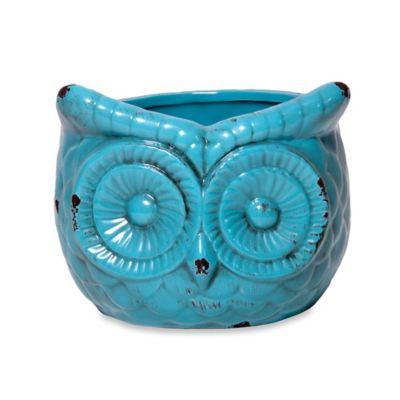 Home Essentials & Beyond Ceramic Indoor/Outdoor Antique Owl Flower Pot in Aqua