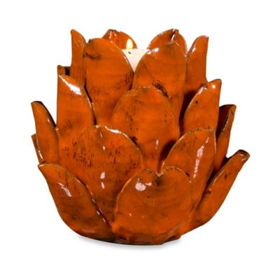 Home Essentials & Beyond Ceramic Artichoke Tealight Candle Holder in Orange