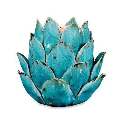 Home Essentials & Beyond Ceramic Artichoke Tealight Candle Holder in Blue