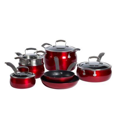 Epicurious Aluminum Nonstick 11-Piece Cookware Set in Red