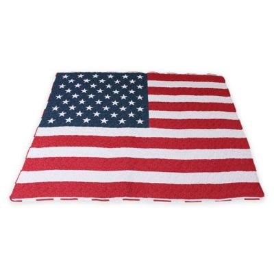 Red White Quilted Throw