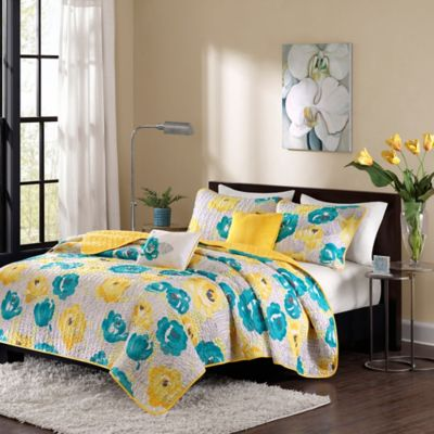 Intelligent Design Cinna Twin/Twin XL Coverlet Set in Teal/Yellow