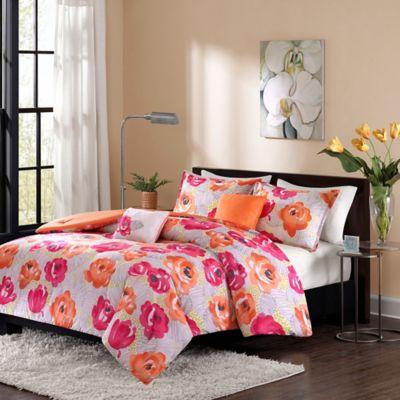 Intelligent Design Cinna Twin/Twin XL Duvet Set in Pink