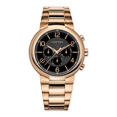 Philip Stein Active Men's 42mm Black Chronograph Watch in Rose Gold-Plated Stainless Steel