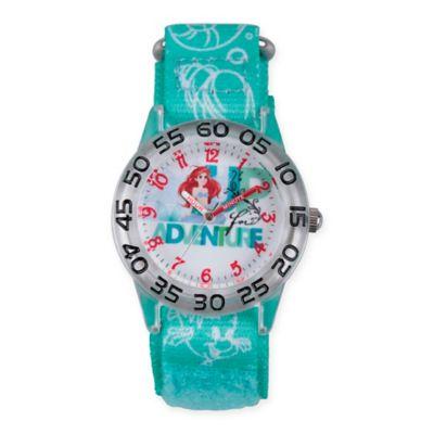 Disney® The Little Mermaid Children's Ariel Time Teacher Watch in Plastic w/Green Nylon Strap