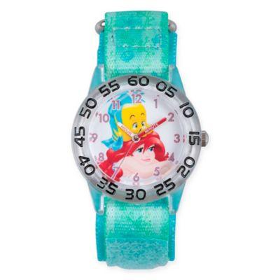 Disney® Little Mermaid Children's Flounder Time Teacher Watch in Plastic w/Green Nylon Strap