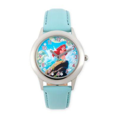 Disney® The Littler Mermaid Children's Ariel Glitz Watch in Stainless Steel w/Blue Leather Strap