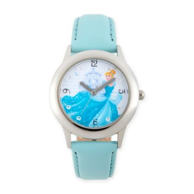 Disney® Cinderella Children's Glitz Watch in Stainless Steel w/Blue Leather Strap