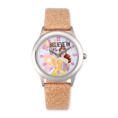 """Disney® Belle Children's """"Believe in You"""" Watch in Stainless Steel w/Gold Glitter Strap"""