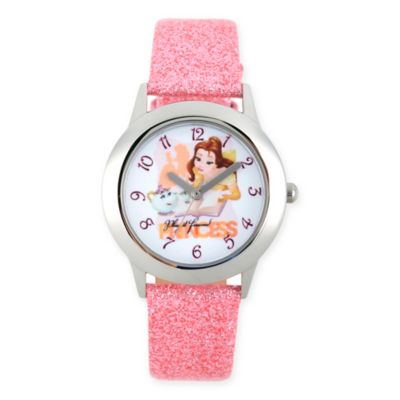 Disney® Beauty and the Beast Children's Belle Watch in Stainless Steel w/Pink Glitter Strap