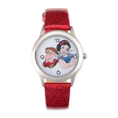 Disney® Snow White Children's Princess Watch in Stainless Steel w/Red Leather Strap